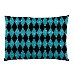 Diamond1 Black Marble & Turquoise Glitter Pillow Case
