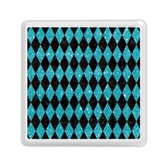 Diamond1 Black Marble & Turquoise Glitter Memory Card Reader (square)  by trendistuff