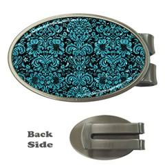 Damask2 Black Marble & Turquoise Glitter (r) Money Clips (oval)  by trendistuff