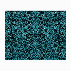Damask2 Black Marble & Turquoise Glitter (r) Small Glasses Cloth by trendistuff