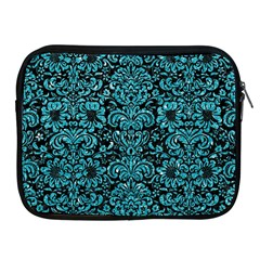 Damask2 Black Marble & Turquoise Glitter (r) Apple Ipad 2/3/4 Zipper Cases by trendistuff
