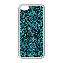 Damask2 Black Marble & Turquoise Glitter (r) Apple Iphone 5c Seamless Case (white) by trendistuff