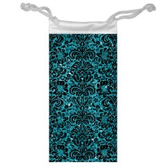 Damask2 Black Marble & Turquoise Glitter Jewelry Bag by trendistuff