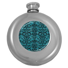 Damask2 Black Marble & Turquoise Glitter Round Hip Flask (5 Oz) by trendistuff