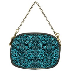 Damask2 Black Marble & Turquoise Glitter Chain Purses (two Sides)  by trendistuff