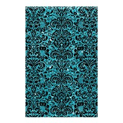 Damask2 Black Marble & Turquoise Glitter Shower Curtain 48  X 72  (small)  by trendistuff