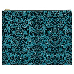 Damask2 Black Marble & Turquoise Glitter Cosmetic Bag (xxxl)  by trendistuff