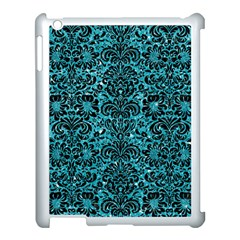 Damask2 Black Marble & Turquoise Glitter Apple Ipad 3/4 Case (white) by trendistuff