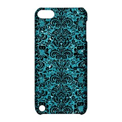 Damask2 Black Marble & Turquoise Glitter Apple Ipod Touch 5 Hardshell Case With Stand by trendistuff