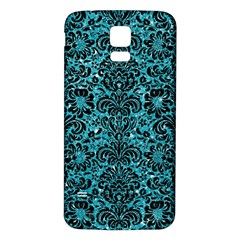 Damask2 Black Marble & Turquoise Glitter Samsung Galaxy S5 Back Case (white) by trendistuff