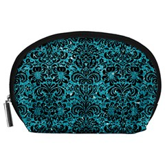 Damask2 Black Marble & Turquoise Glitter Accessory Pouches (large)  by trendistuff