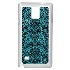 Damask2 Black Marble & Turquoise Glitter Samsung Galaxy Note 4 Case (white) by trendistuff
