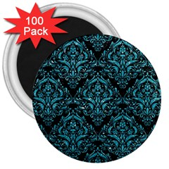 Damask1 Black Marble & Turquoise Glitter (r) 3  Magnets (100 Pack) by trendistuff