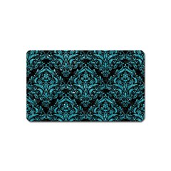 Damask1 Black Marble & Turquoise Glitter (r) Magnet (name Card) by trendistuff