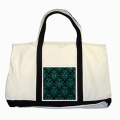 Damask1 Black Marble & Turquoise Glitter (r) Two Tone Tote Bag by trendistuff