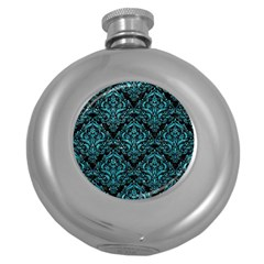 Damask1 Black Marble & Turquoise Glitter (r) Round Hip Flask (5 Oz) by trendistuff