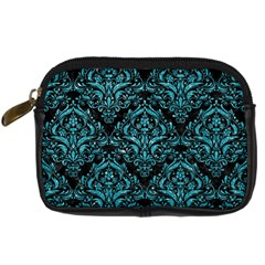 Damask1 Black Marble & Turquoise Glitter (r) Digital Camera Cases by trendistuff