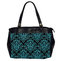 Damask1 Black Marble & Turquoise Glitter (r) Office Handbags (2 Sides)  by trendistuff