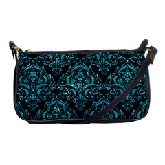 Damask1 Black Marble & Turquoise Glitter (r) Shoulder Clutch Bags by trendistuff