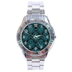 Damask1 Black Marble & Turquoise Glitter (r) Stainless Steel Analogue Watch by trendistuff