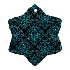 Damask1 Black Marble & Turquoise Glitter (r) Snowflake Ornament (two Sides) by trendistuff