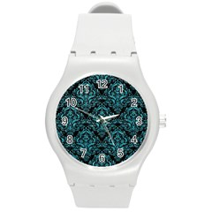 Damask1 Black Marble & Turquoise Glitter (r) Round Plastic Sport Watch (m) by trendistuff