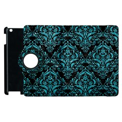 Damask1 Black Marble & Turquoise Glitter (r) Apple Ipad 2 Flip 360 Case by trendistuff