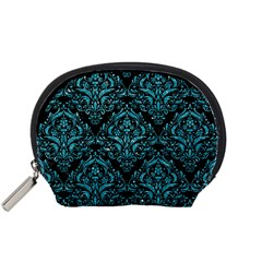 Damask1 Black Marble & Turquoise Glitter (r) Accessory Pouches (small)  by trendistuff
