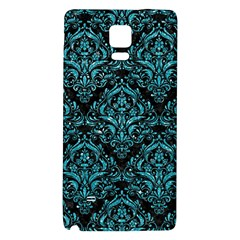 Damask1 Black Marble & Turquoise Glitter (r) Galaxy Note 4 Back Case by trendistuff