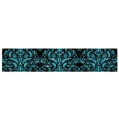 Damask1 Black Marble & Turquoise Glitter (r) Small Flano Scarf by trendistuff
