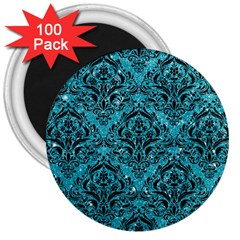 Damask1 Black Marble & Turquoise Glitter 3  Magnets (100 Pack) by trendistuff