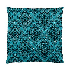 Damask1 Black Marble & Turquoise Glitter Standard Cushion Case (one Side) by trendistuff
