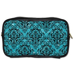 Damask1 Black Marble & Turquoise Glitter Toiletries Bags by trendistuff