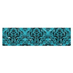 Damask1 Black Marble & Turquoise Glitter Satin Scarf (oblong) by trendistuff