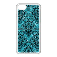 Damask1 Black Marble & Turquoise Glitter Apple Iphone 7 Seamless Case (white) by trendistuff
