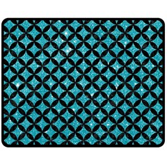 Circles3 Black Marble & Turquoise Glitter Double Sided Fleece Blanket (medium)  by trendistuff