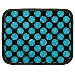 Circles2 Black Marble & Turquoise Glitter (r) Netbook Case (xl)  by trendistuff