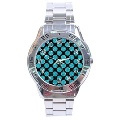 Circles2 Black Marble & Turquoise Glitter (r) Stainless Steel Analogue Watch by trendistuff