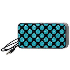 Circles2 Black Marble & Turquoise Glitter (r) Portable Speaker by trendistuff
