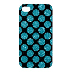 Circles2 Black Marble & Turquoise Glitter (r) Apple Iphone 4/4s Premium Hardshell Case by trendistuff