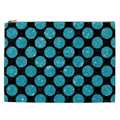 Circles2 Black Marble & Turquoise Glitter (r) Cosmetic Bag (xxl)  by trendistuff