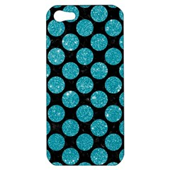 Circles2 Black Marble & Turquoise Glitter (r) Apple Iphone 5 Hardshell Case