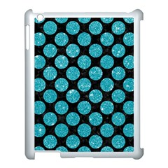 Circles2 Black Marble & Turquoise Glitter (r) Apple Ipad 3/4 Case (white) by trendistuff
