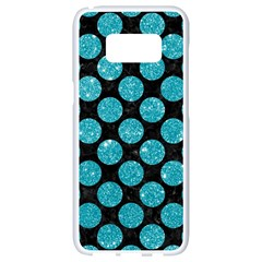 Circles2 Black Marble & Turquoise Glitter (r) Samsung Galaxy S8 White Seamless Case by trendistuff