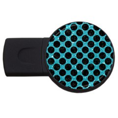 Circles2 Black Marble & Turquoise Glitter Usb Flash Drive Round (2 Gb) by trendistuff