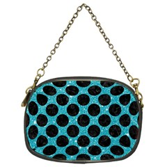 Circles2 Black Marble & Turquoise Glitter Chain Purses (two Sides)  by trendistuff