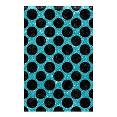 Circles2 Black Marble & Turquoise Glitter Shower Curtain 48  X 72  (small)  by trendistuff
