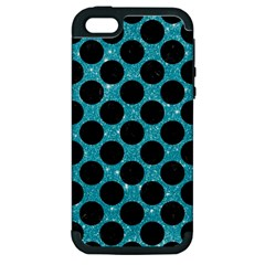 Circles2 Black Marble & Turquoise Glitter Apple Iphone 5 Hardshell Case (pc+silicone) by trendistuff