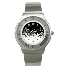Flat Tech Camouflage Black And White Stainless Steel Watch by jumpercat