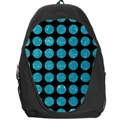 Circles1 Black Marble & Turquoise Glitter (r) Backpack Bag by trendistuff